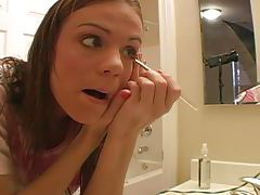 Cute teen does her makeup and talks dirty tubes
