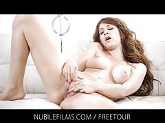Big natural breasts and silky wet pussy tubes