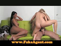 FakeAgent Two girls make me cum quick part 1 tubes
