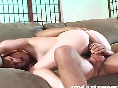 Redhead sits in his lap to ride big cock tubes