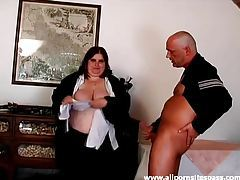 Ugly fat slut sucks his hard cock tubes