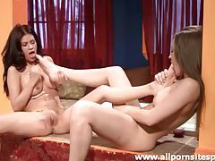 Big tits lesbians suck feet and masturbate tubes