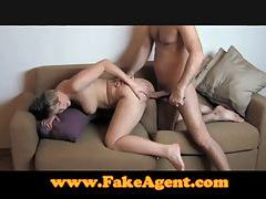 FakeAgent Fit blonde goes all the way in casting tubes
