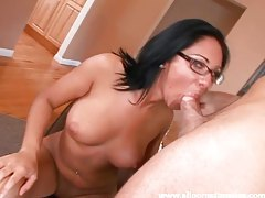 Chick in glasses sucks dick tubes