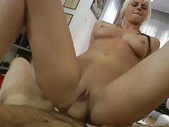 Hot slim blonde rides him with shaved pussy tubes