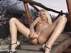Blonde has a perfect pierced clit outdoors tubes
