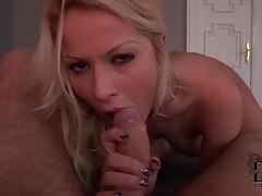 Horny blonde cock muncher takes his load tubes