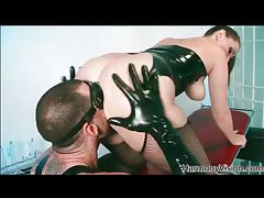 Kinky foreplay with lots of latex tubes