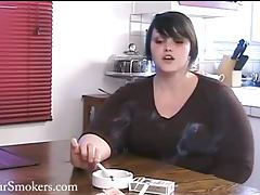 Adorable BBW Mila enjoying a smoke at dinner table tubes