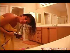Hot brunette teen Nadia wet after taking a shower tubes
