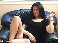 Mina talks a little naughty as she smokes tubes