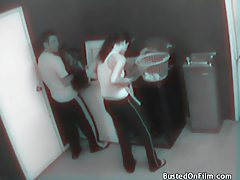 Laundry room fuck caught on security camera tubes