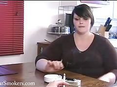 Very cute BBW Milla has a morning smoke tubes