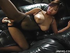 Big tits Asian babe toy inserting tubes