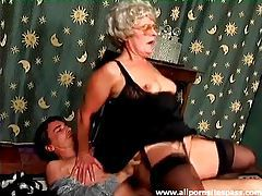 Granny in glasses and lingerie laid in the vagina tubes