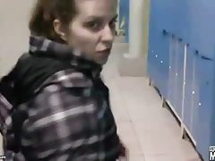 Dressing room blowjob from his cute teen GF tubes