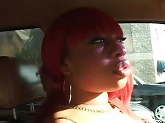 Black whore sucks his cock in the car tubes