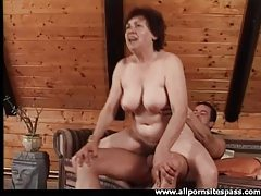Cock gobbling old lady sits on his hard dick tubes