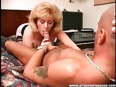 Big haired mature blonde sucks dick tubes