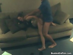 Busty girl in skirt cheats and takes dick on couch tubes