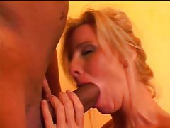 Monstrous black cock blown by white milf tubes