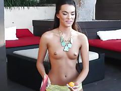 Skinny small tits girl plays outdoors tubes
