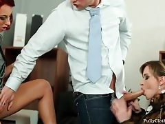 Lucky office man blown by two beauties tubes