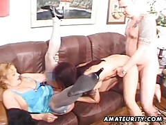 Amateur homemade threesome with facial cumshot tubes