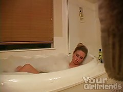 Hidden cam of amateur masturbating in bathtub tubes