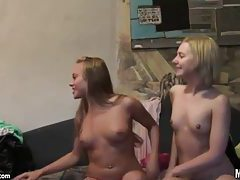 Teen girls setup the camera and fool around tubes
