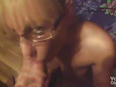 Nerd girl in glasses sucks his dick tubes