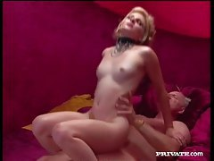 Skinny beauty in sexy collar takes cock tubes