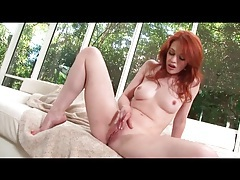 Redhead Justine Joli takes you close to her pussy tubes