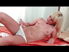 Bleach blonde skinny girl with little tits strips tubes