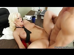 Naked bleach blonde hottie has office hardcore tubes