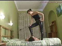 Skintight latex pants on his mistress tubes