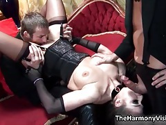 Horny brunette slut goes crazy having oral sex and getting her wet pussy fucked hard and deep tubes