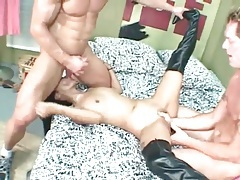 Slutty boots on the Asian double penetration girl tubes