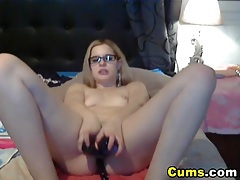 Busty Blonde Strokes her Tight Pussy HD tubes