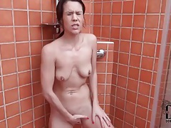 POV cocksucking in the shower tubes