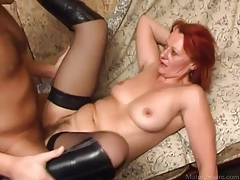 In boots and stockings she takes dick in the cunt tubes