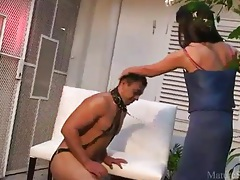 Collared man worships milf pussy tubes