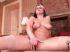 Sexy natural tits girl finger fucks vagina tubes