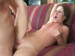 Cock down throat and into shaved pussy tubes