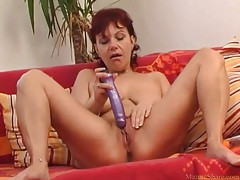 Dildo and fingers in dripping wet mature vagina tubes
