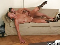 Mature in slutty shoes sucks and fucks tubes