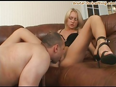 Skinny blonde beauty licked on her pussy tubes