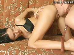 Aggressive mistress pulls him into her pussy tubes