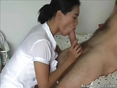 Nasty asian housewife takes rigid white boner in the pussy tubes