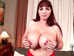 She puts her hands all over her big tits tubes